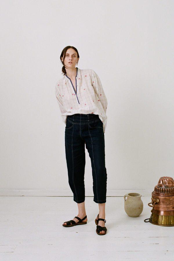 Karu The Tinkerer's Blouse - Handloom Jamdani Cotton