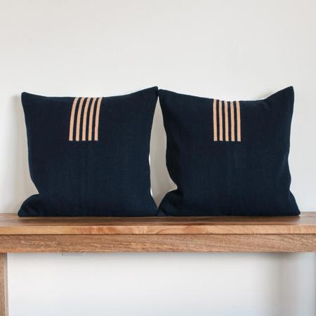 Equal Uprise Four Way Pillow in Navy & Peach