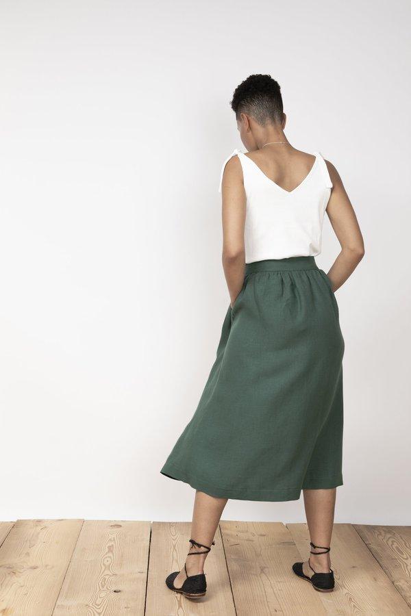 Jungle Folk Lourdes Linen Skirt - Pine Green
