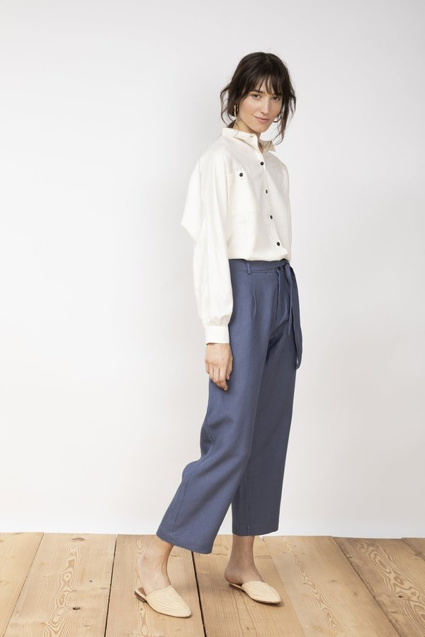 Jungle Folk Vela Linen Trousers - Pilot Blue