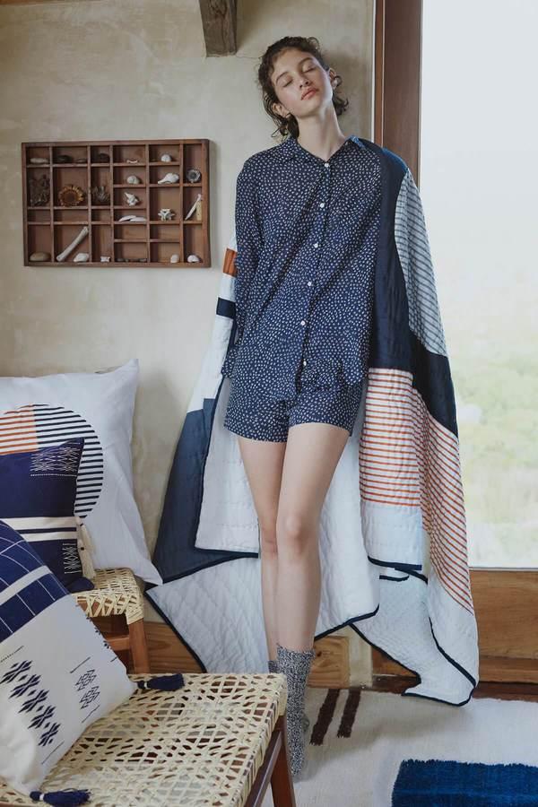 Karu Scrub Print Shirt - Midnight Blue