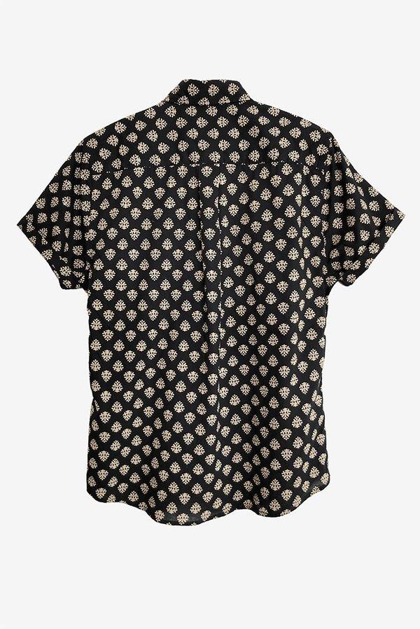 Dushyant Asthana Folk Block Printed Short Sleeve Shirt - Black