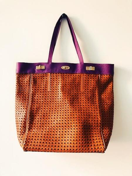 [pre-loved] VBH Leather Woven Tote - Tan