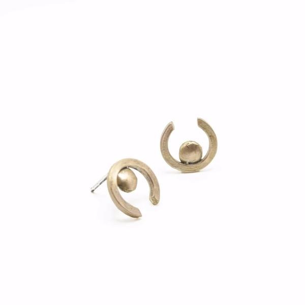 Rebekah J Designs Right Here Post Earrings - Brass