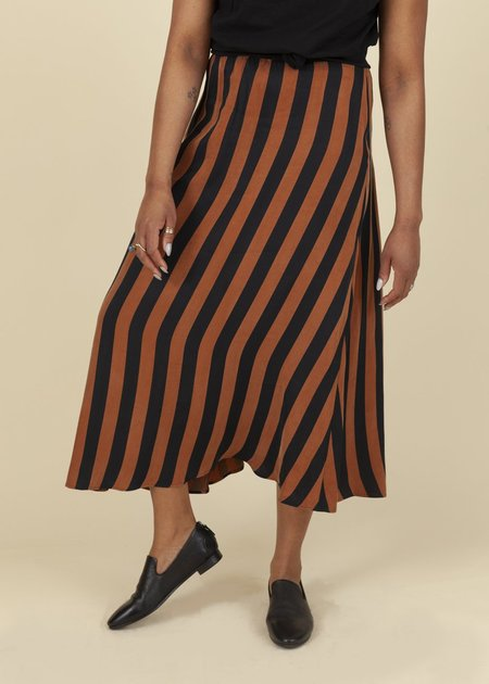 Summum Woman Lyocell Striped Skirt - Faded Almond