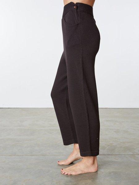 été noir Knit Cotton Pants - chocolate brown