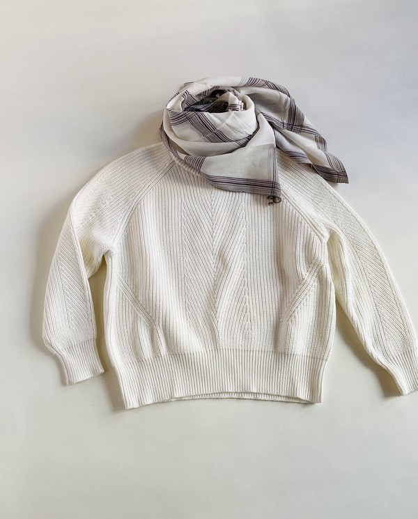 Moismont Striped Scarf - White/Plum