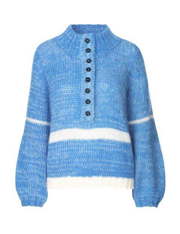 Just Female Dolly High Neck Blouse - Blue Knit
