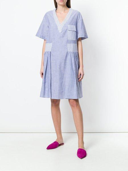 Carven Flared Dress - Blue/White Stripe
