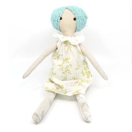 kids EJ Gotts Handmade Doll with Blue Hair and Ruffle Neck Dress