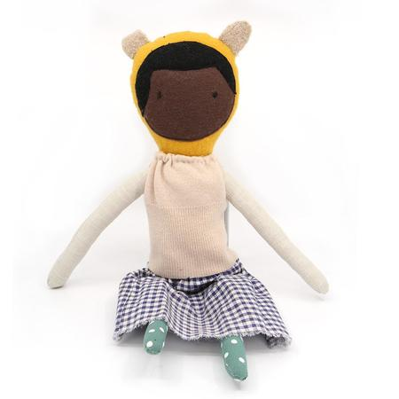 kids EJ Gotts Handmade Doll with Sweater and Gingham skirt