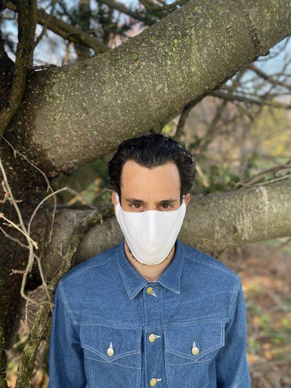 Tony Shirtmakers Japanese Pinpoint Oxford Face Mask - white