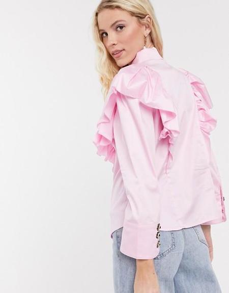 Notes Du Nord Oakley Ruffle Shirt Soft Pink