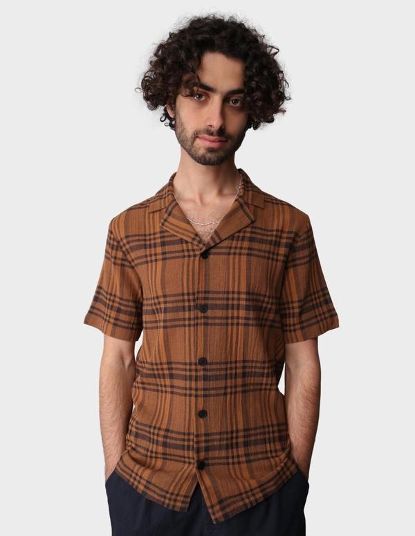 Folk Clothing Crepe Check Short Sleeve Soft Collar Shirt - Teak Overdyed