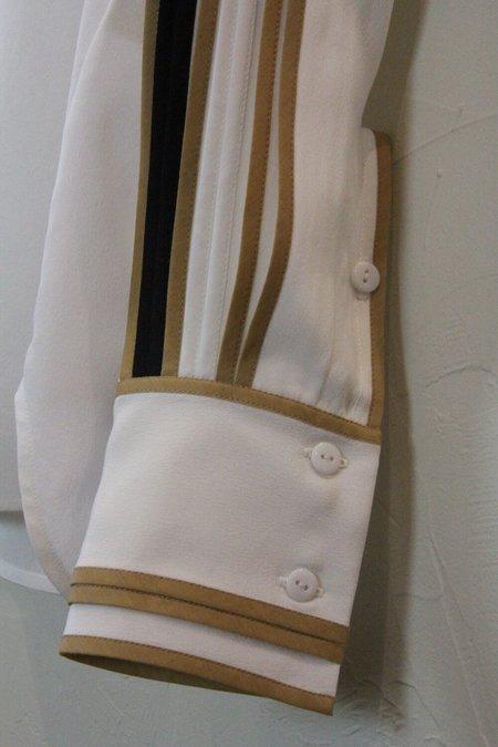 Bodice Silk Pleat Top - white/black/caramel