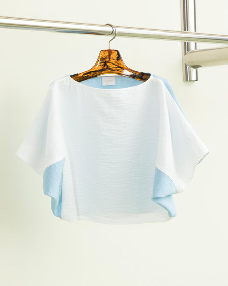 Rachel Comey Shell Top in White-Sky Blue Foam