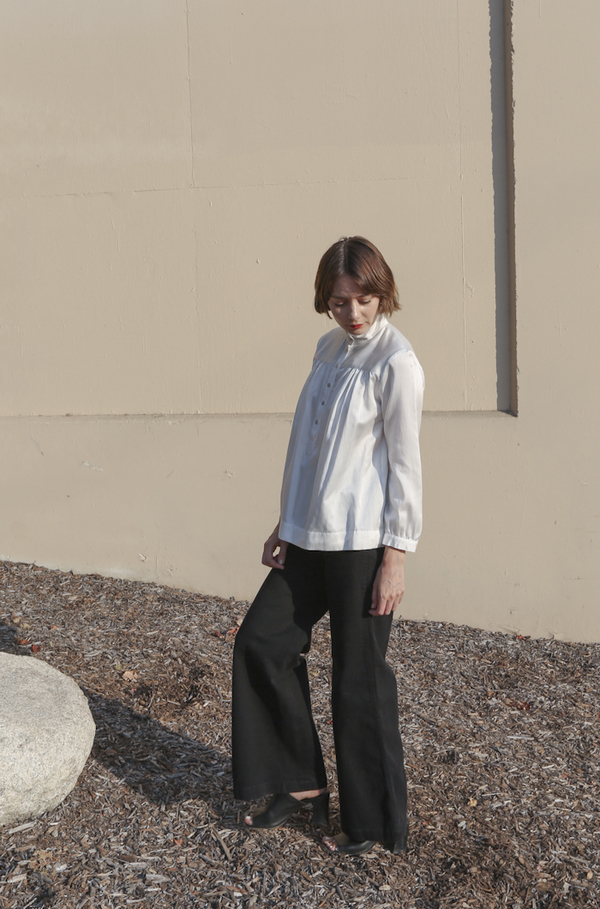 Horses Atelier High-Collar Blouse in Ivory