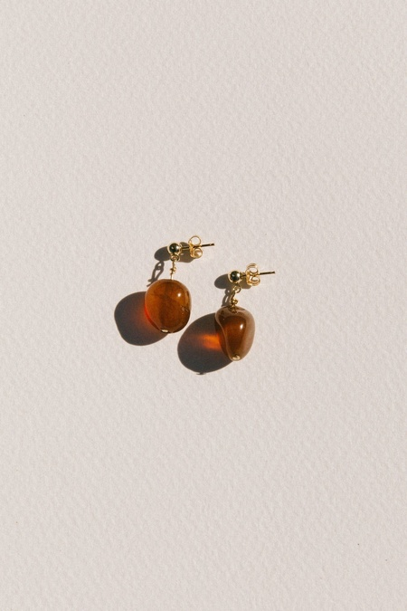 Vermeer Valentine Agate Drop Earrings - 14k gold filled