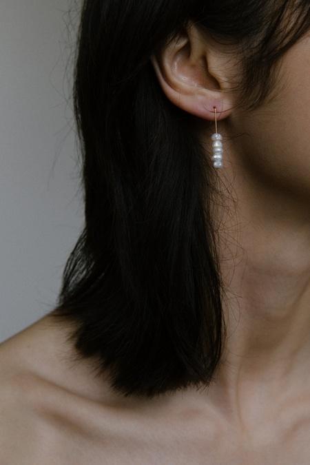 Vermeer Daria Pearl Stack Earrings - 14k gold filled