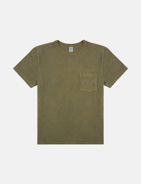 Velva Sheen Pigment Dyed T shirt with Pocket - Leaf Green