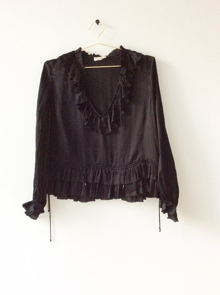 Pre-loved Ulla Johnson Silk Popover Top - Black