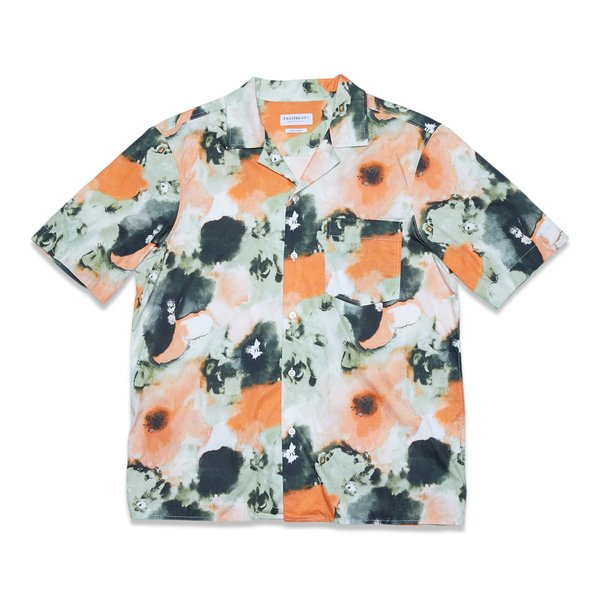 PRESIDENTS SHIRT RANGI S/S PSYCHO FLOWER POPLIN - ORANGE