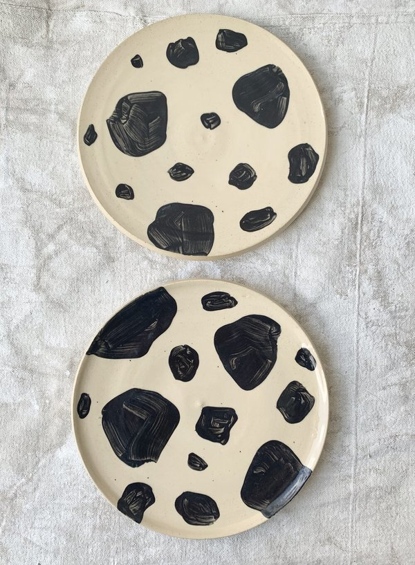 Cuttalossa & Co. Stoneware Brush Dot - Dinner Plate Duo