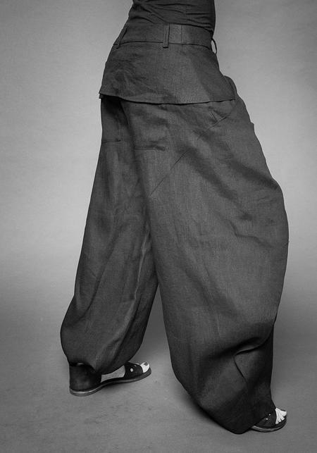 MAKS Overlapping Billowing Pants - Black