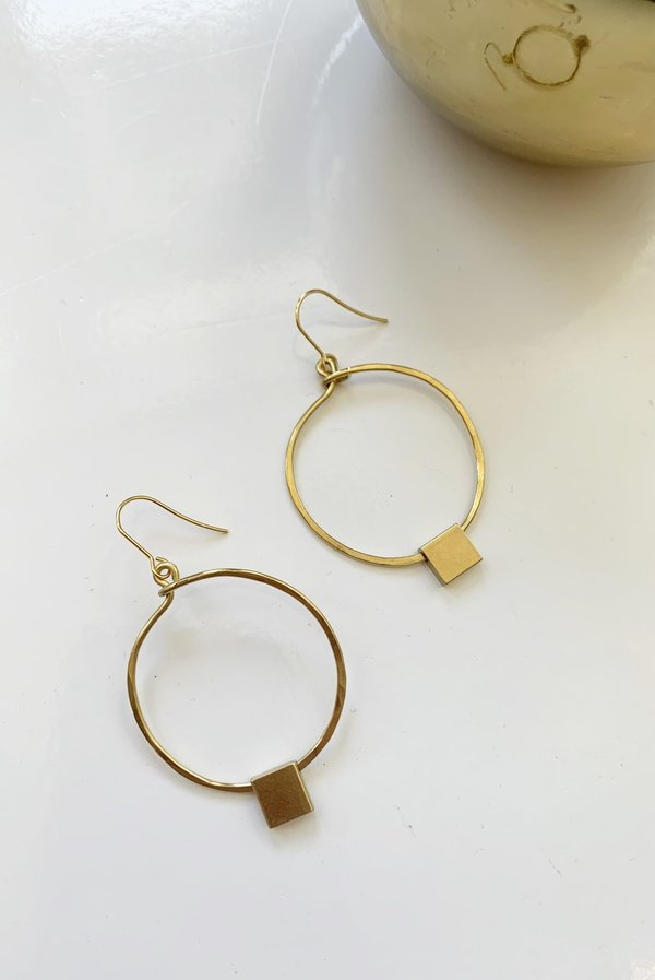 Spectrum Handcrafted Jewelry Circle Square Earrings - Brass