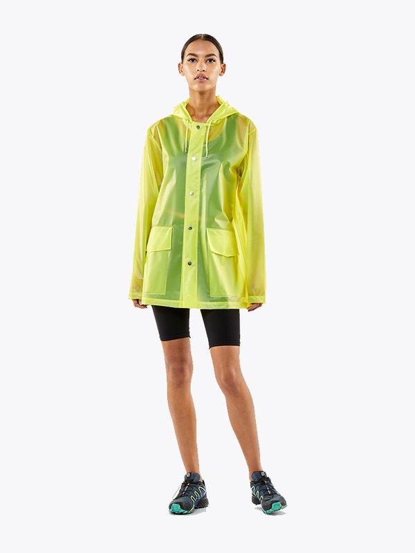 unisex Rains LTD Short Hooded Coat - Foggy Neon Yellow