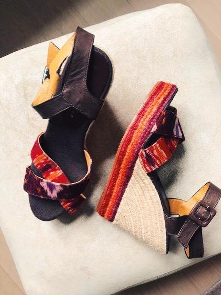 [pre-loved] Bettye Muller Sunset Ikat Wedges - brown