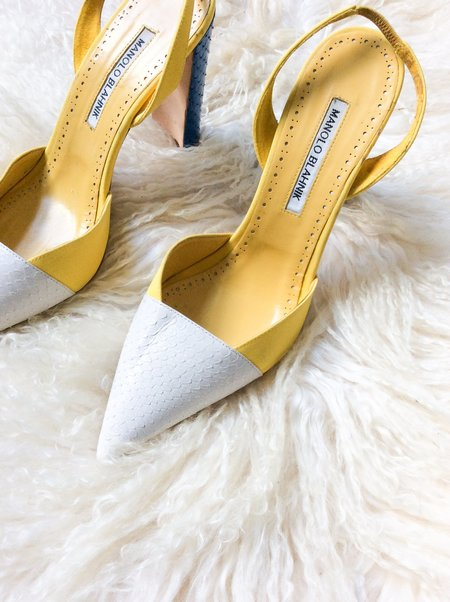 [pre-loved] Manolo Blahnik Leather Pumps - yellow/blue