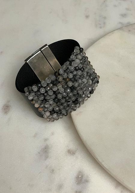 Martell Chunky Rutilated Quartz and Leather Bracelet