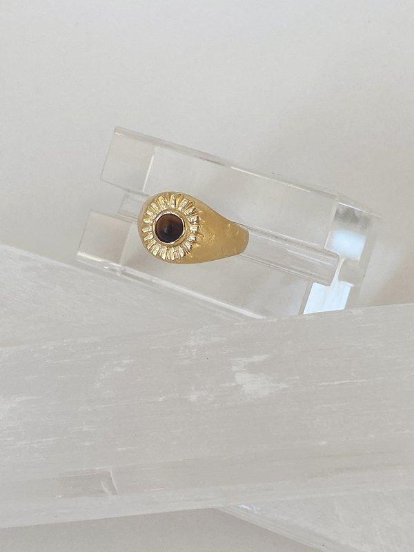 Mercurial NYC Tiger's Eye Beam Ring - 14K Gold Dip