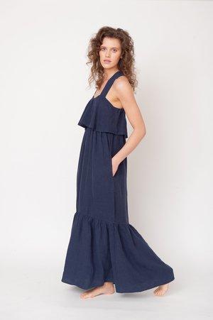 beaumont organic Arya-May Linen Dress - Midnight