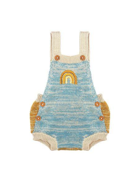 KIDS Wild Wawa Rainbow Knitted Romper - Blue/Mustard