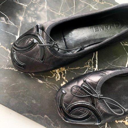 [pre-loved] Chanel Leather Ballet Flats - black