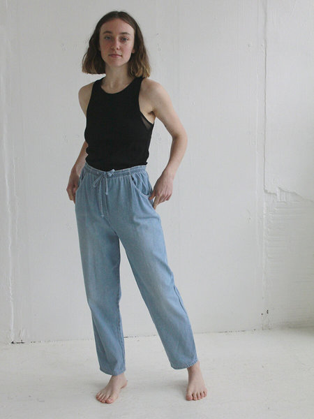 Cotton Vintage Drawstring Pant - Light Denim