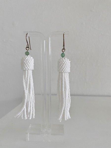 Beads Elklyn Beaded Tassel Earrings - White