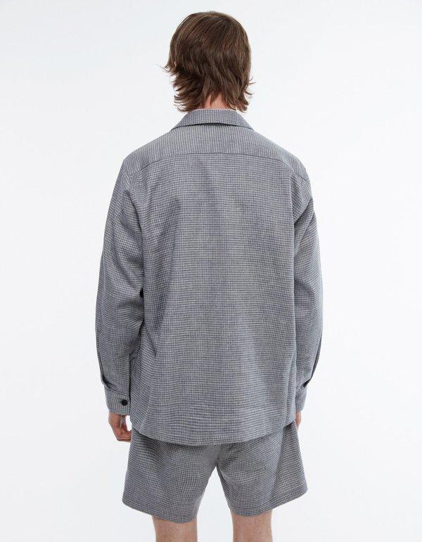 Schnayderman's Overshirt boxy melange check - blue/grey