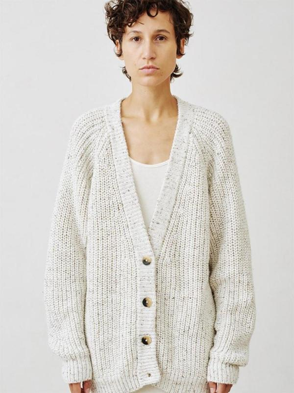 Lauren Manoogian Shaker Cardigan - beige tweed