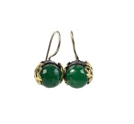 Bora Indian Emerald Filigree Earring - Brass