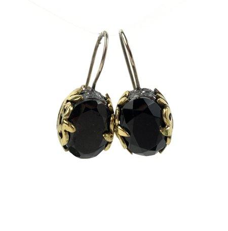 Bora Onyx Filigree Earrings - Brass