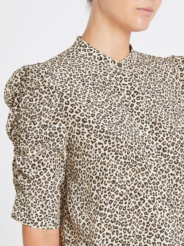 FRAME Denim Shirred Sleeve Button Up Top - Animal