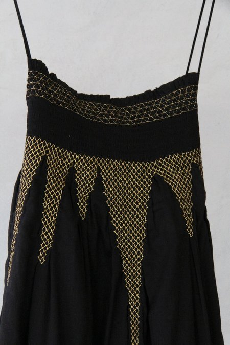 Cotton Aish Maira Dress - Black/Gold