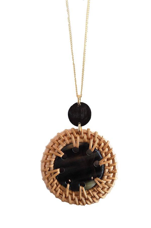 Hathorway Thuy Binh Dark Horn & Rattan Pendant Necklace - Dark