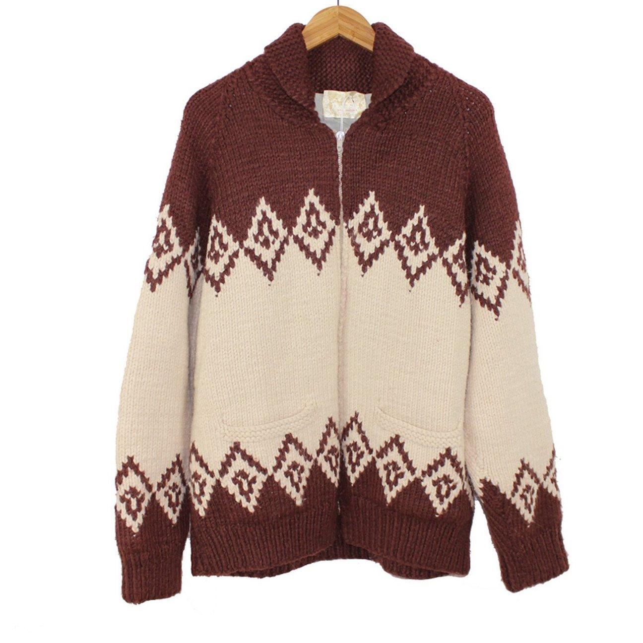Vintage 1950s Cowichan Sweater  50s Poker Sweater  Gray Black Red Cowichan  Vintage Knit Menswear  Lined Wool Sweater