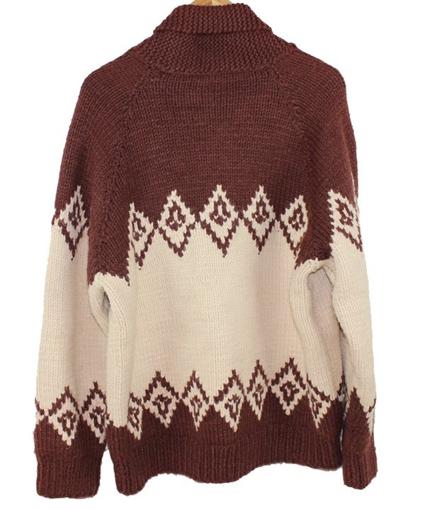 Vintage 1950s Hand Knit Cowichan Sweater - Neutral Brown/Cream
