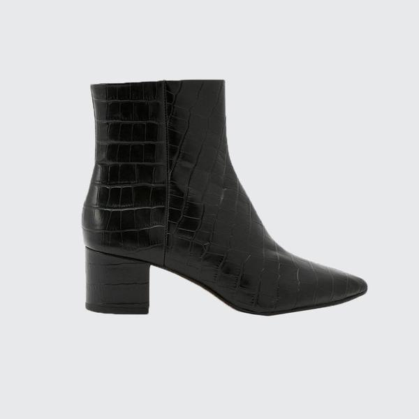 Dolce Vita Bel Croco Leather Ankle Boot - Black