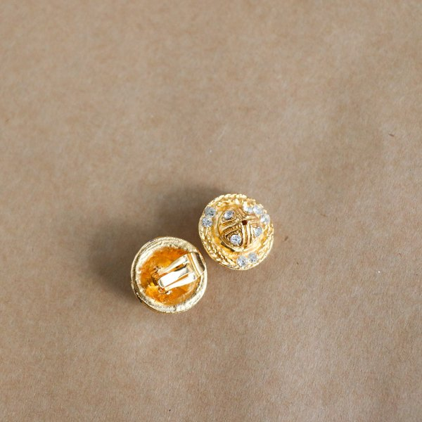 Vintage Karl Lagerfeld Clip On Earrings - gold